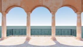 3d rinden la opinión clásica Italia del mar del balcón romano ilustración del vector