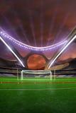 3d rinden la tarde de alta tecnología emptry del estadio sin la gente saltan la pista Imagenes de archivo