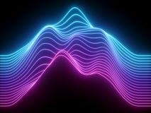 3d rinden, las líneas de neón onduladas azules rosadas, equalizador virtual de la música electrónica, visualización de la onda ac libre illustration