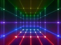 3d rinden, las líneas que brillan intensamente, luces de neón, fondo psicodélico abstracto, jaula del cubo, ultravioleta, colores stock de ilustración