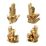 3d rinden, los cristales abstractos del oro, opinión de perspectiva, pepita de oro, elemento esotérico del diseño, aislado en el  libre illustration