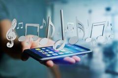 3d rinden notas de la música sobre un interfaz futurista Foto de archivo libre de regalías