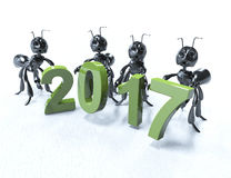 2017 3D rinden, 2017 nuevo Year& x27; cabeza de s Foto de archivo libre de regalías