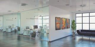 3d rinden - oficina abierta del plan - el edificio de oficinas Imágenes de archivo libres de regalías