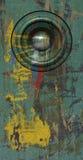3d rinden sistema de sonido verde del altavoz del grunge el viejo Imagen de archivo libre de regalías