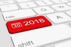 3d rinden - teclado con el botón rojo - 2018 y símbolo del calendario Imagen de archivo