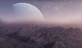 3d rindió arte del espacio: Planeta extranjero Imagen de archivo libre de regalías
