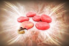 3d rindió efecto del virus de la malaria en glóbulos sobre fondo del color stock de ilustración