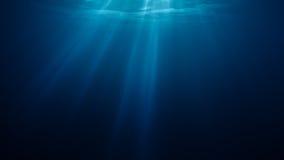 3D rindió el ejemplo de los rayos ligeros del sol debajo del agua ilustración del vector