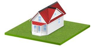 3D rindió el ejemplo de un hogar minúsculo en una parcela de tierra o una yarda herbosa cuadrada Aislado sobre blanco Foto de archivo libre de regalías
