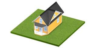 3D rindió el ejemplo de un hogar minúsculo en una parcela de tierra o una yarda herbosa cuadrada Aislado sobre blanco Imagen de archivo libre de regalías