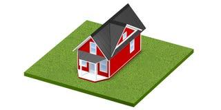 3D rindió el ejemplo de un hogar minúsculo en una parcela de tierra o una yarda herbosa cuadrada Aislado sobre blanco Fotografía de archivo