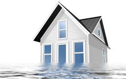 3d rindió el ejemplo de una casa que era inundada con agua Imágenes de archivo libres de regalías
