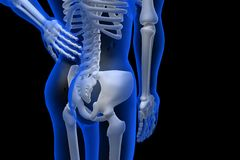 3d rindió el ejemplo - dolor de espalda Imagen de archivo libre de regalías