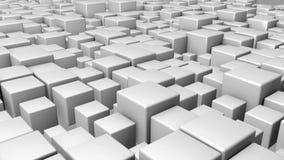 3D rindió el fondo con la animación de los cubos del blanco stock de ilustración