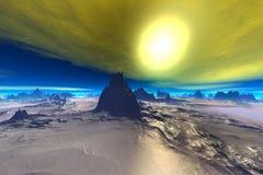 3d rindió el planeta del extranjero de la fantasía Rocas y cielo Imagen de archivo libre de regalías