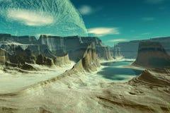 3d rindió el planeta del extranjero de la fantasía Rocas y lago Foto de archivo libre de regalías