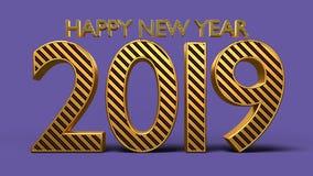 3d rindió el texto de la Feliz Año Nuevo 2019 Imágenes de archivo libres de regalías