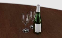 3d rindió la botella de vino con los vidrios vacíos Foto de archivo