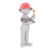 3D rindió la figura sostiene el martillo y el mini barco rastreador Fotografía de archivo