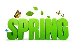 3D rindió palabra de la primavera en el fondo blanco ilustración del vector