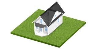3D rindió el ejemplo de un hogar minúsculo en una parcela de tierra o una yarda herbosa cuadrada Aislado sobre blanco Fotografía de archivo libre de regalías