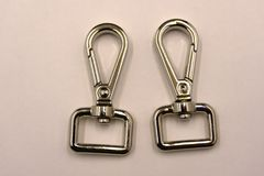D ring and swivel snap hook set on white background. royalty free stock photos