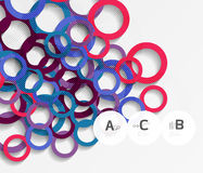 3d rings on grey. Geometrical modern abstract background Stock Photo
