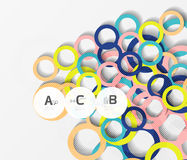 3d rings on grey. Geometrical modern abstract background Royalty Free Stock Image