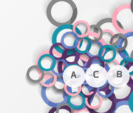 3d rings on grey. Geometrical modern abstract background Stock Photography