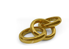 3d rings. 3d illustration of three interlaced god rings Royalty Free Stock Photography