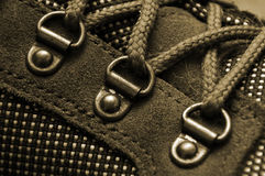 D-rings on trekking boot. Lacing on a trekking boot macro Stock Images