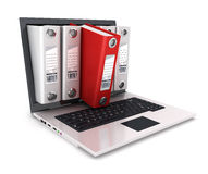 3d ringsbindmiddel binnen laptop Royalty-vrije Stock Foto