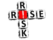 3D Rise Risk Crossword. On white background Royalty Free Stock Photography