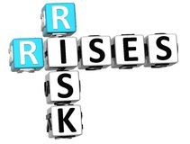 3D Rises Risk Crossword. On white background Royalty Free Stock Photos