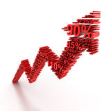3d rising arrow formed by numbers. Rising arrow formed by numbers, 3d render Royalty Free Stock Images