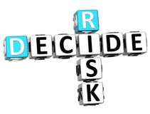 3D Risk Decide Crossword Stock Photography