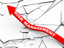 3d risk management rising arrow. 3d illustration of rising arrow with risk management over cracked and destroyed land.  Concept of risk management, disaster Royalty Free Stock Images
