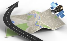 3d road arrow. 3d illustration of map paper with road arrow and gps satellite Royalty Free Stock Photography