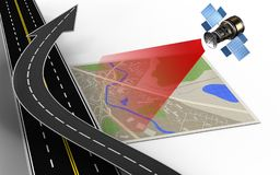 3d road arrow. 3d illustration of map with road arrow and Royalty Free Stock Images