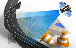 3d road arrow. 3d illustration of map with road arrow and repair cones Royalty Free Stock Photos