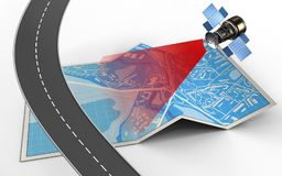 3d road. 3d illustration of city map with and satellite stock illustration