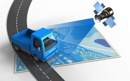 3d road. 3d illustration of blue map with truck and vector illustration