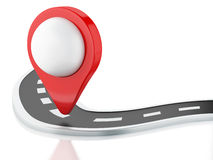 3d road with pin pointer Royalty Free Stock Photo