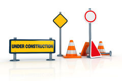 3d road signs - under construction warning. On white background stock illustration