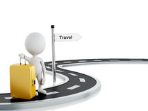 3d Road with White people and travel suitcase. Royalty Free Stock Photography