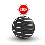 3D roads and stop sign. Conceptual traffic illustration with sphere roads and stop sign Stock Images