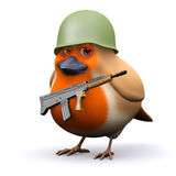 3d Robin has joined the army Stock Photo