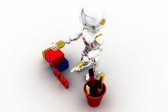 3d robot alphabets Stock Photo