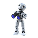 3d Robot with binoculars. 3d render of a robot holding a pair of binoculars Stock Image